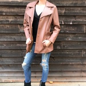 Vintage 50's 60's Faux Leather Trench Coat Jacket